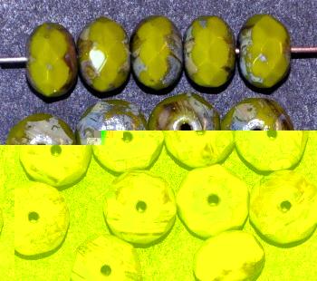 Best.Nr.:26553 Glasperlen Linse  olive mit facettiertem Rand und picasso finish