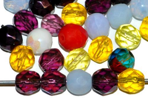 Best.Nr.:s-0005 facettierte Glasperlen Farbmix, hergestellt in Gablonz / Tschechien