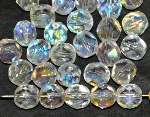 Best.Nr.:s-0007 facettierte Glasperlen kristall mit AB., hergestellt in Gablonz / Tschechien