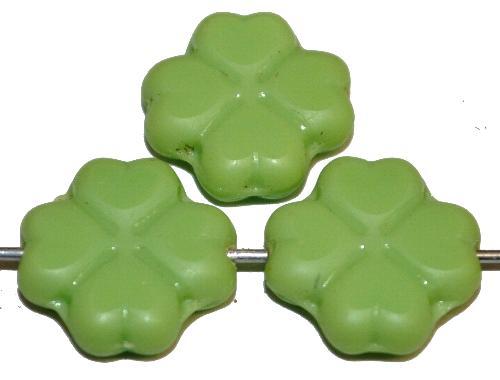Best.Nr.:s-0036 Glasperlen / Table Cut Beads Blüten geschliffen, grün opak,  hergestellt in Gablonz Tschechien