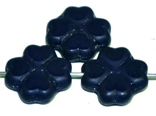 Best.Nr.:s-0042 Glasperlen / Table Cut Beads Blüten  geschliffen, nachtblau opak,  hergestellt in Gablonz Tschechien
