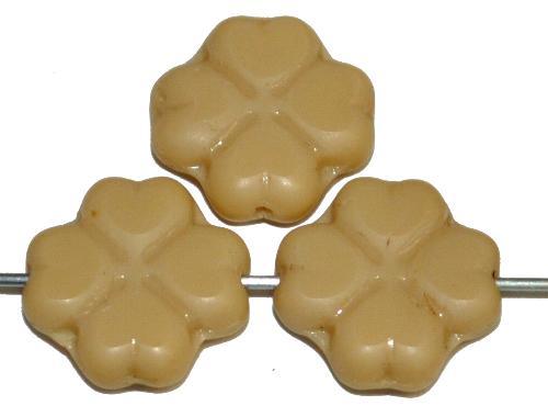 Best.Nr.:s-0043  Glasperlen / Table Cut Beads Blüten  geschliffen, beige opak,  hergestellt in Gablonz Tschechien