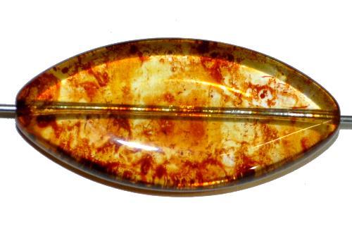 Best.Nr.:s-0046 Glasperle große flache olive, kristall mit picasso finish, hergestellt in Gablonz Tschechien