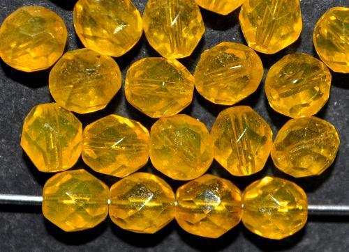 Best.Nr.:s-0046 facettierte Glasperlen  gelb transp.,  hergestellt in Gablonz / Tschechien