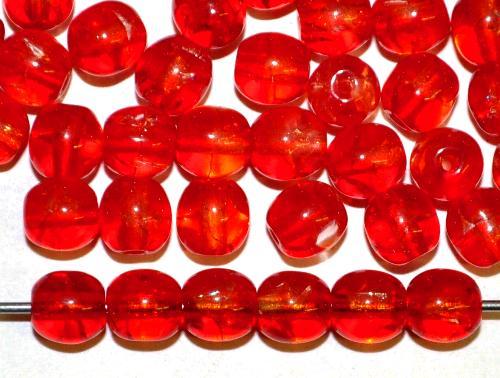 Best.Nr.:s-0059  Glasperlen rund,  crash beads rot kristall, um 1950/60 hergestellt in Gablonz / Tschechien