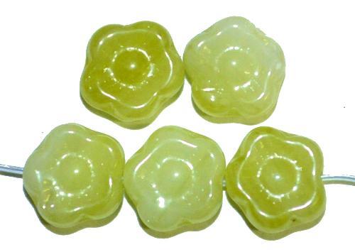 Best.Nr.:s-0061 Glasperlen Blüten,  oliv,  hergestellt in Gablonz Tschechien,
