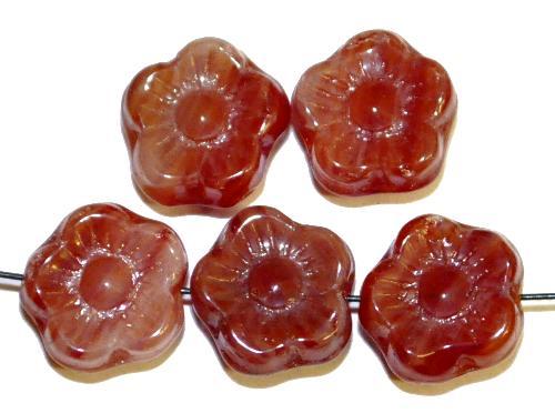 Best.Nr.:s-0062  Glasperlen Blüten,  dunkelrot,  hergestellt in Gablonz Tschechien,