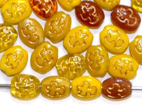 Best.Nr.:s-0064 Glasperlen Oliven flach,  eingeprägtes Vögelchen,  Farbmix mit Goldauflage