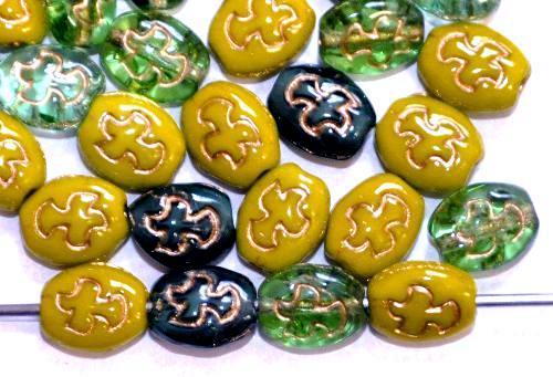 Best.Nr.:s-0066  Glasperlen Oliven flach,  eingeprägtes Vögelchen,  Farbmix mit Goldauflage