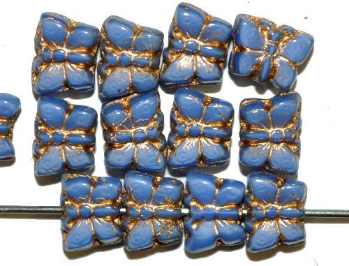 Best.Nr.:s-0066 Glasperlen Schmetterlinge,  hellblau opak mit Goldauflage,  hergestellt in Gablonz / Tschechien