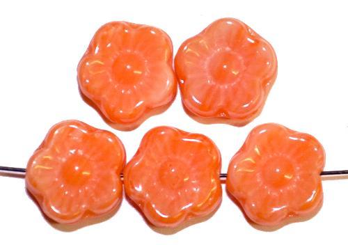 Best.Nr.:s-0067 Glasperlen Blüten,  orange,  hergestellt in Gablonz Tschechien,