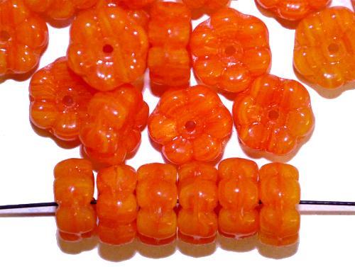Best.Nr.:s-0076  Glasperlen Blüten,  orange,  hergestellt in Gablonz Tschechien,