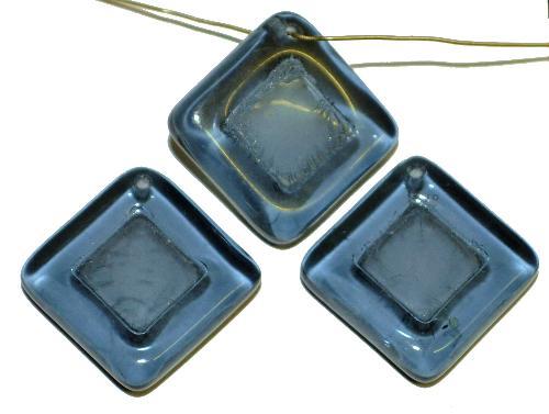 Best.Nr.:s-0083  Glasperlen Quadrate,  blaugrau transp.,  hergestellt in Gablonz Tschechien
