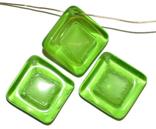 Best.Nr.:s-0084  Glasperlen Quadrate,  hellgrün transp.,  hergestellt in Gablonz Tschechien