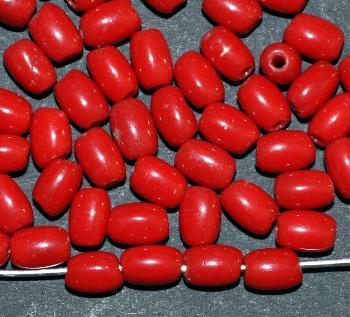Best.Nr.:63694 Glasperle Olive, 1930/40 in Gablonz/Böhmen hergestellt, rot