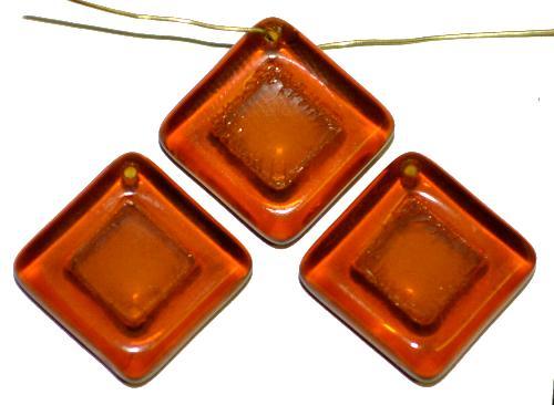 Best.Nr.:s-0096  Glasperlen Quadrate,  topas transp.,  hergestellt in Gablonz Tschechien