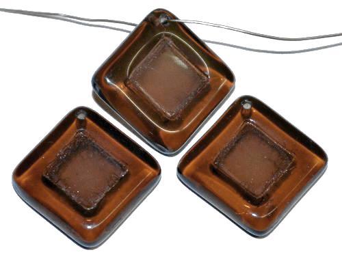 Best.Nr.:s-0097  Glasperlen Quadrate,  braun transp.,  hergestellt in Gablonz Tschechien