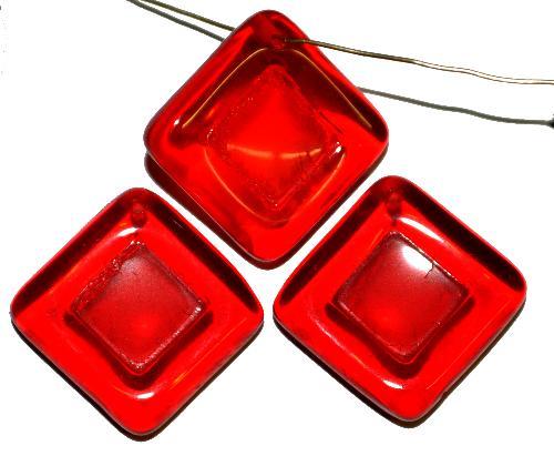 Best.Nr.:s-0101 Glasperlen Quadrate,  rot transp.,  hergestellt in Gablonz Tschechien