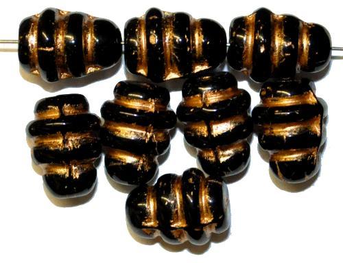 Best.Nr.:s-0106  Glasperlen, haben Ähnlichkeit mit einem Bienenstock,  schwarz mit gold finish,  hergestellt in Gablonz Tschechien
