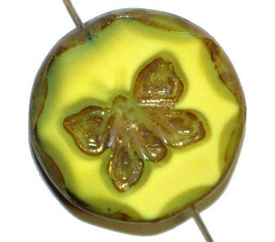 Best.Nr.:671152 Glasperlen / Table Cut Beads  gelbgrün opak, mit eingeprägtem Schmetterling,  geschliffen mit burning silver picasso finish, hergestellt in Gablonz / Tschechien