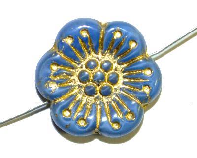 Best.Nr.:59221 Glasperlen Blüten,  Perlettglas blau mit Goldauflage,  hergestellt in Gablonz / Böhmen