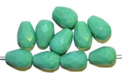 Best.Nr.:26266 facettierte Glasperlen Tropfen, mintgrün opak, hergestellt in Gablonz / Tschechien,