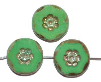 Best.Nr.:671335 Glasperlen geschliffen / Table Cut Beads, grün opak, mit eingepägtem Blütenornament, und burning silver und picasso finish