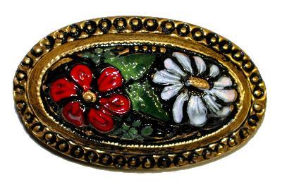 Best.Nr.:43371 Glasknopf , handgefertigt, handbemalt,  In Gablonz / Böhmen hergestellt.  (nur wenige auf Lager)
