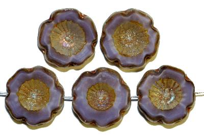 Best.Nr.:671052 Glasperlen / Table Cut Beads violett meliert, Blüten geschliffen mit burning silver picasso finish