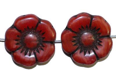 Best.Nr.:50055 Glasperlen Blüte, Perlettglas rot, in Gablonz/Böhmen gefertigt,