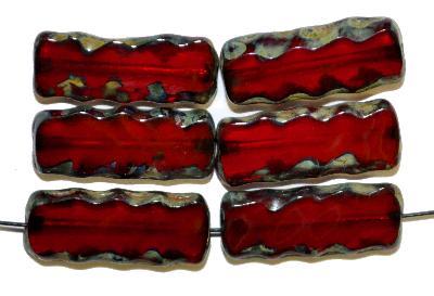 Best.Nr.:67726 Glasperlen / Table Cut Beads, granatrot transp.  geschliffen mit picasso finish