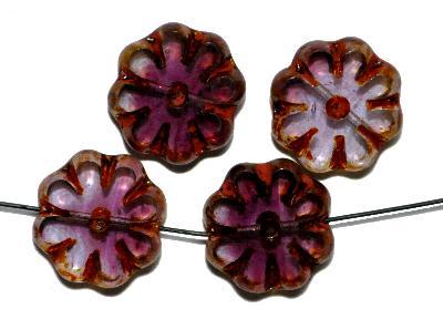 Best.Nr.:67108 Glasperlen / Table Cut geschliffen, violett transp. mit picasso finish, hergestellt in Gablonz Tschechien