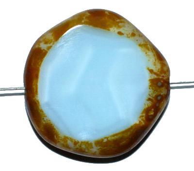 Best.Nr.:671075 Glasperlen geschliffen / Table Cut Beads, hellblau opak mit picasso finish, hergestellt in Gablonz / Tschechien