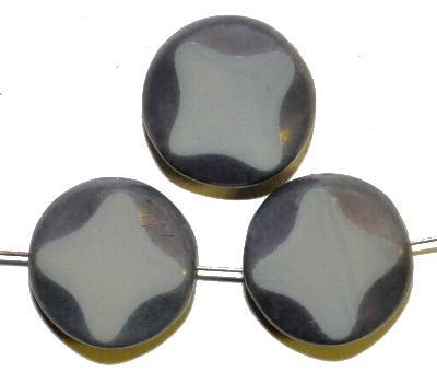 Best.Nr.:67461 Glasperlen / Table Cut Beads geschliffen, grau opak mit bronze lüster, hergestellt in Gablonz / Tschechien