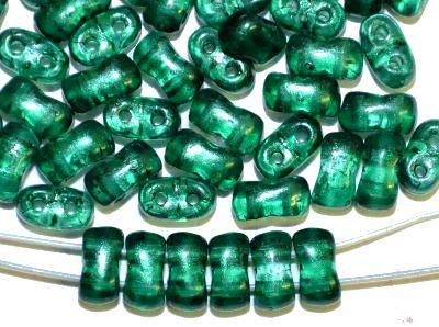 Best.Nr.:79001 Glasperlen mit zwei Löchern,  Twin Hole Beads smaragdgrün, hergestellt in Gablonz / Tschechien