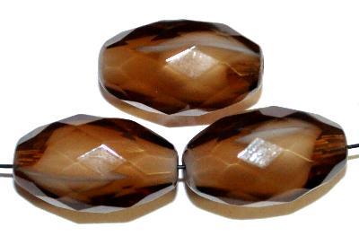 Best.Nr.:26382 Glasperlen geschliffen weiß mit braunem Überfang, hergestellt in Gablonz / Tschechien