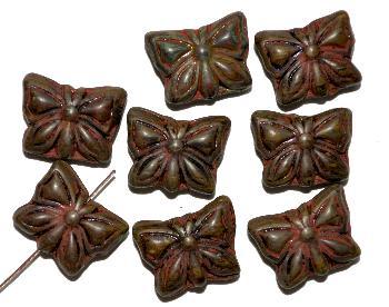Best.Nr.:51119 Glasperlen Schmetterlinge Vorder-und Rückseite geprägt  mit picasso finish