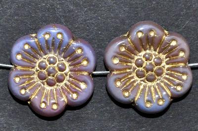 Best.Nr.:50104 Glasperlen Blüten blau rosa mit Goldauflage, hergestellt in Gablonz / Böhmen