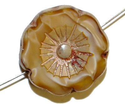 Best.Nr.:67921 Glasperlen / Table Cut Beads,  beigebraun Perlettglas,  geschliffen mit burning silver picasso finish, hergestellt in Gablonz / Böhmen