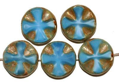 Best.Nr.:671298 Glasperlen / Table Cut Beads Perlettglas blau, geschliffen mit burning silver picasso finish