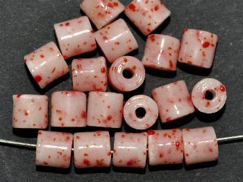 Best.Nr.:63207 Glasperlen ( tilt-beads ) in den 1920/30 Jahren in Gablonz/Böhmen hergestellt hellrot rot gesprenkelt, (Prosserbeads) (nur noch wenige auf Lager)