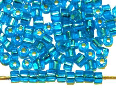 Best.Nr.:41063 Glasperlen / Schnittperlen,  von Preciosa Ornella Tschechien hergestellt,  türkis mit Silbereinzug