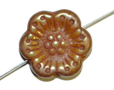 Best.Nr.:59222 Glasperlen Blüten,  picasso finish bronziert,  hergestellt in Gablonz / Böhmen