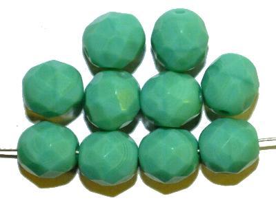 Best.Nr.:65053 facettierte Glasperlen,  mintgrün opak,  hergestellt in Gablonz / Tschechien,