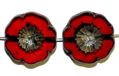 Best.Nr.:67585 Glasperlen / Table Cut Beads rot transparent, Blüten geschliffen mit burning silver picasso finish, hergestellt in Gablonz / Tschechien