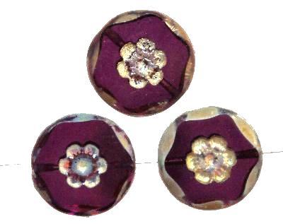 Best.Nr.:67967 Glasperlen geschliffen / Table Cut Beads, violett transp. und burning silver und picasso finish