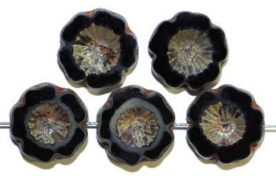 Best.Nr.:67946 Glasperlen / Table Cut Beads  black smoke opak,  Blüten geschliffen mit burning silver picasso finish, hergestellt in Gablonz / Böhmen