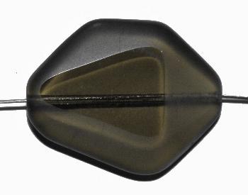 Best.Nr.:671258 Glasperlen geschliffen / Table Cut Beads, Hergestellt in Gablonz / Böhmen rauch transparent, Rand mattiert (frostet)