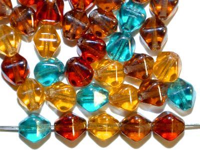 Best.Nr.:s-0065  Glasperlen Doppelpyramide,  Farbmix mit lüster,  hergestellt in Gablonz Tschechien,