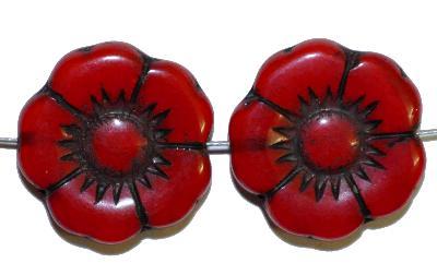 Best.Nr.:50059 Glasperlen Blüte, rot opak, in Gablonz/Böhmen gefertigt,